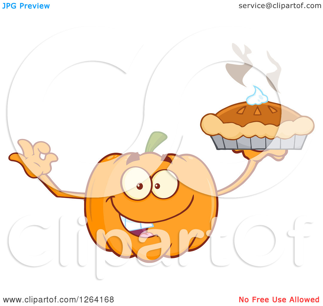 Pumpkin chef character clipart clip art black and white library Clipart of a Happy Pumpkin Character Holding up a Pie - Royalty ... clip art black and white library