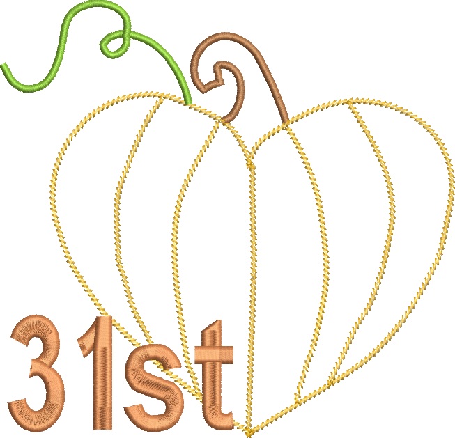 Pumpkin with monogram clipart clip transparent download Pumpkin Heart 31st Design Machine Embroidery Design | Machine ... clip transparent download