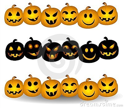 Pumpkin clipart row svg library Jack O Lantern Pumpkin Borders Royalty Free Stock Images - Image ... svg library