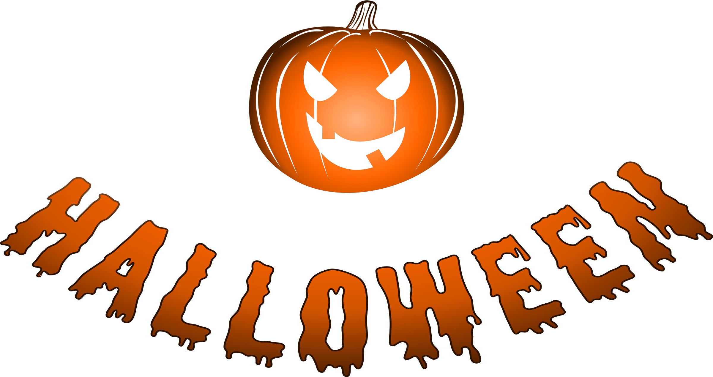 Pumpkin font clipart clipart transparent download Clipart - Halloween logo with jack-o'-lantern clipart transparent download