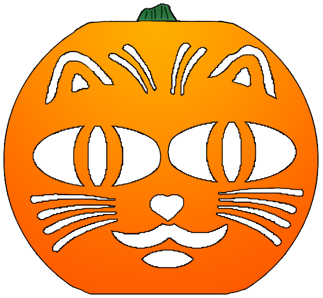 Pumpkin with cut for face clipart picture black and white Cat Pumpkin Cut Out Pattern | OnLookin picture black and white