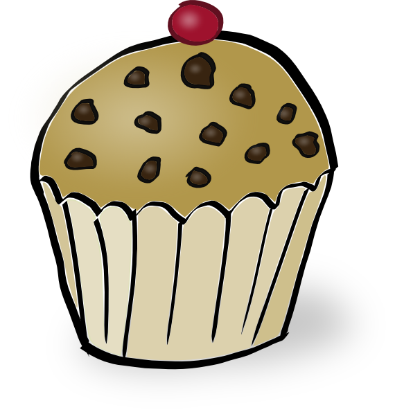 Pumpkin muffin clipart black and white stock Chocolate Chip Muffin Clip Art at Clker.com - vector clip art online ... black and white stock
