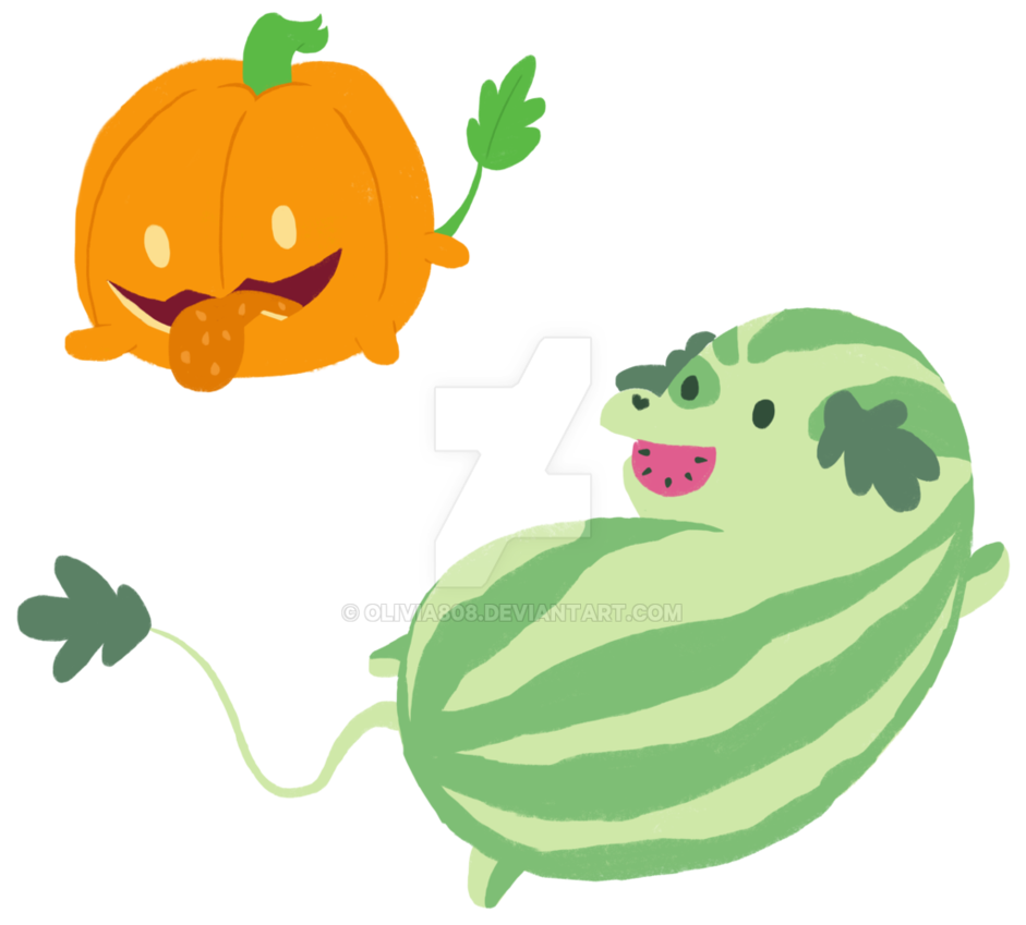 Pumpkin shell clipart image freeuse Watermelon and Pumpkin Pups by olivia808 on DeviantArt image freeuse