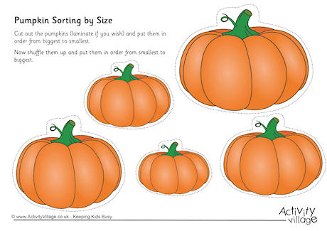 Pumpkins clipart of different sizes clip art royalty free stock Sorting by Size clip art royalty free stock