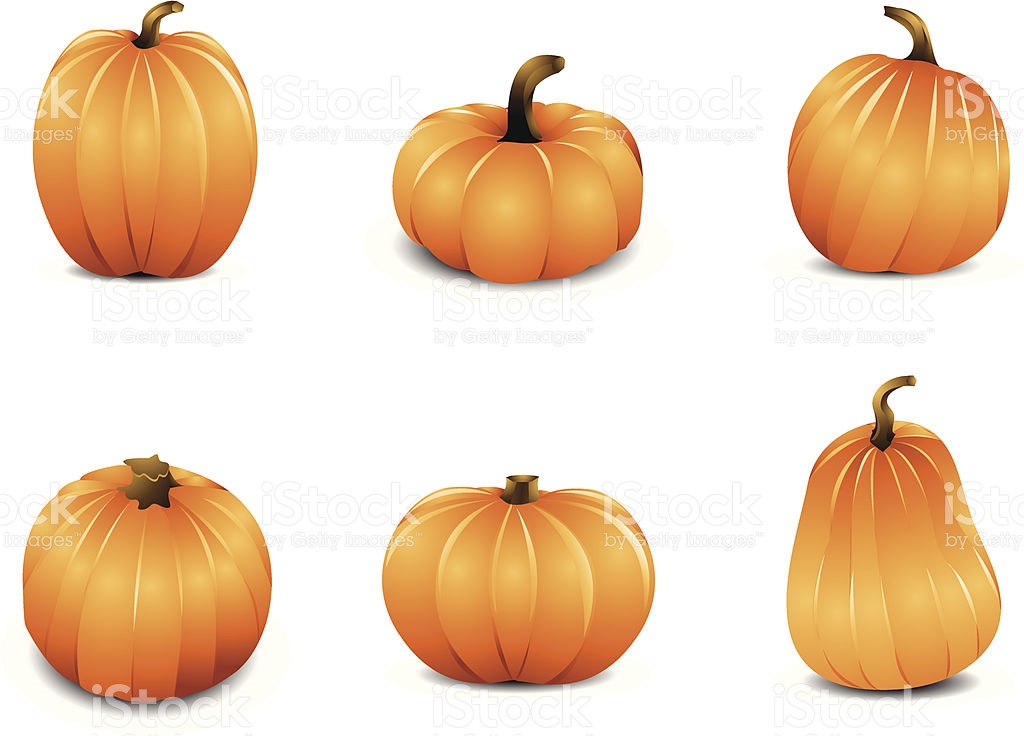 Pumpkins clipart of different sizes graphic Icon Set Of Six Pumpkins In Different Shapes And Sizes stock ... graphic