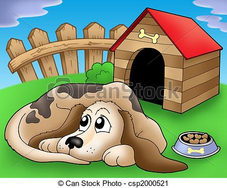 Puppy clipart 1 color png library download Clipart of Sad dog in front of kennel 1 - color illustration ... png library download