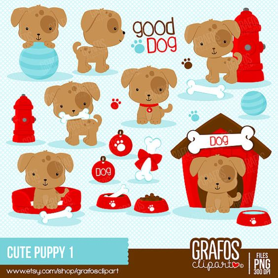 Puppy clipart 1 color clip art library CUTE PUPPY 1 - Digital Clipart Set, Puppy Clipart, Dog Clipart ... clip art library
