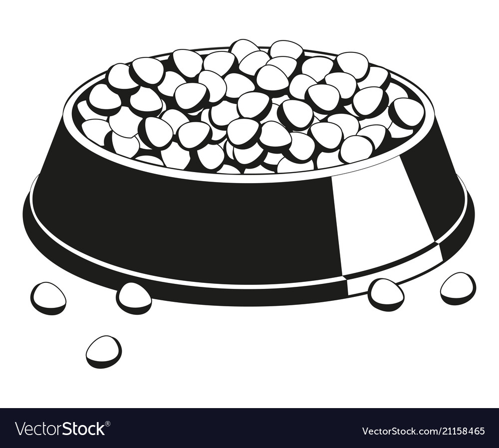 Puppy dog bowls clipart black and white svg free stock Black and white full pet food bowl silhouette svg free stock