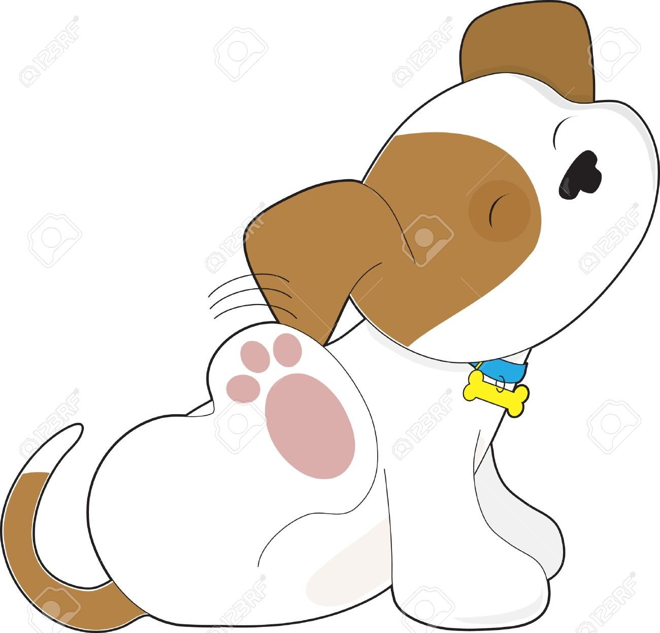 Puppy vs dog clipart graphic transparent download A Cute Brown And White Puppy Is Scratching Its Ear. Royalty Free ... graphic transparent download