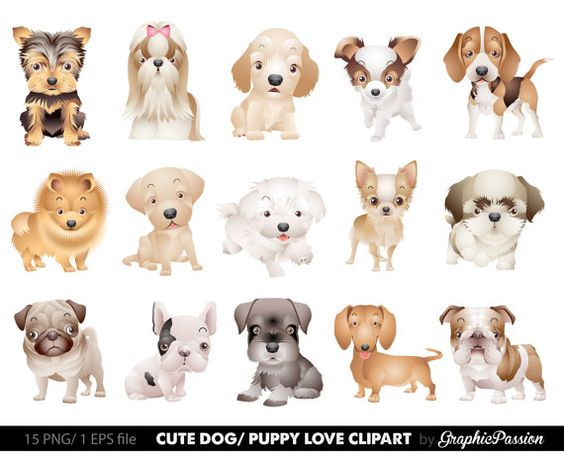 Puppy vs dog clipart image black and white Our Dog Clipart Puppy Clipart set comes with 15 PNG files with ... image black and white