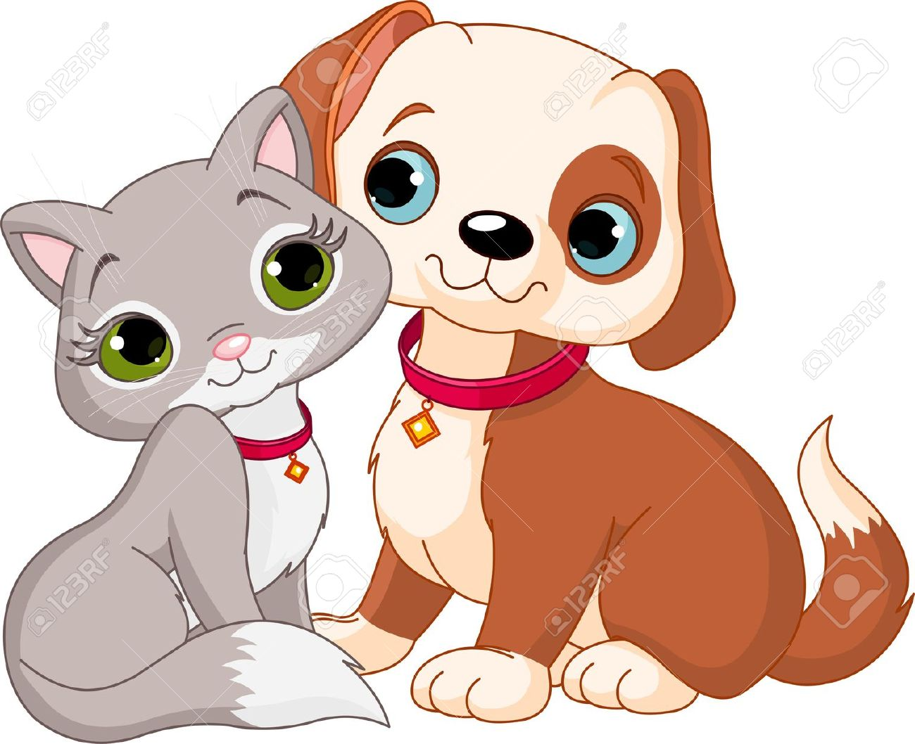 Puppy vs dog clipart clip transparent download Dog And Cat Best Friends Ever Royalty Free Cliparts, Vectors, And ... clip transparent download