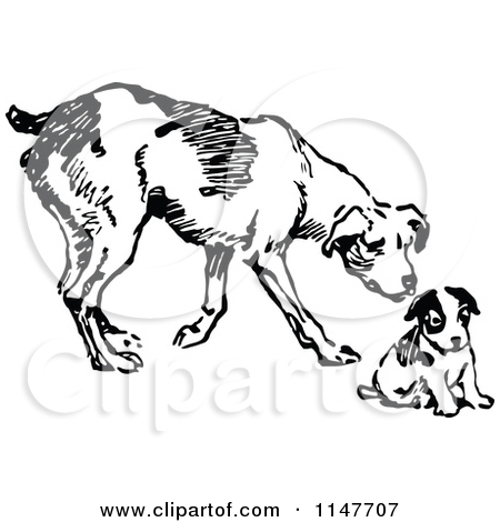 Puppy vs dog clipart png free Clipart of a Retro Vintage Black and White Dog and Puppy - Royalty ... png free