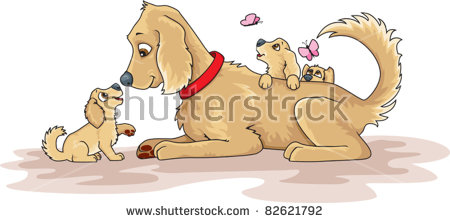 Puppy vs dog clipart graphic freeuse library Mother Dog And Puppies Stock Images, Royalty-Free Images & Vectors ... graphic freeuse library