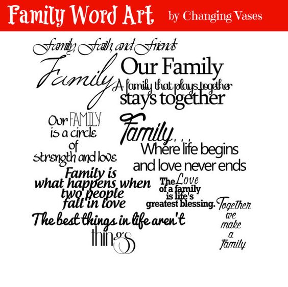 Purchase clipart for commercial use svg free stock Family Word Art Collection 10 Quotes - Words and Phrases Clip art ... svg free stock