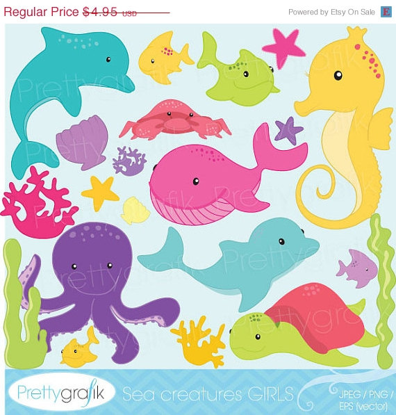 Purchase clipart for commercial use clip library library 40% OFF SALE Sea animal clipart for scrapbooking, commercial use ... clip library library