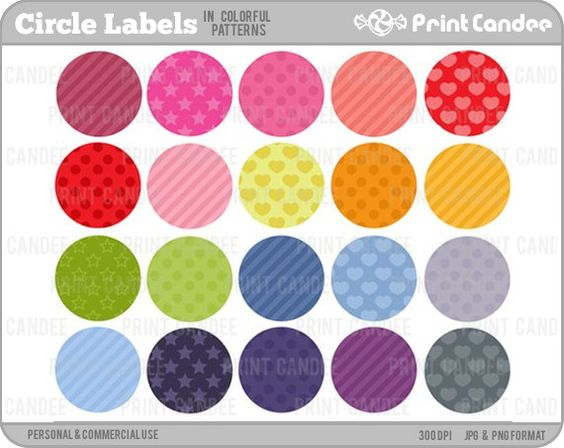 Purchase clipart for commercial use clipart freeuse stock Circle Labels in Colorful Patterns (Set of 20) - Personal and ... clipart freeuse stock