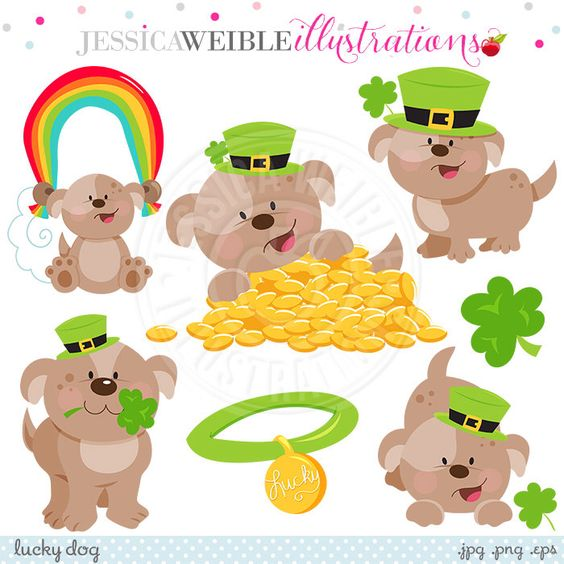 Purchase clipart for commercial use clip art stock Lucky Dog Cute Digital Clipart - Commercial Use OK - St. Patricks ... clip art stock