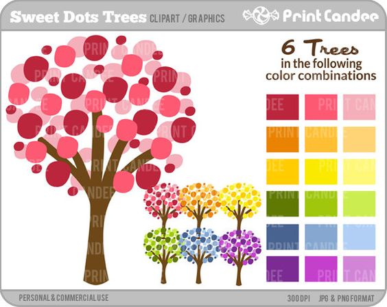 Purchase clipart for commercial use picture free download Sweet Dots Trees - Digital Clip Art - Personal and Commercial Use ... picture free download