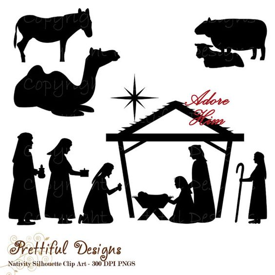 Purchase clipart for commercial use picture royalty free download Christmas Nativity Silhouette Clip Art for Commercial Use - Wise ... picture royalty free download