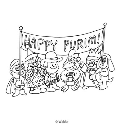 Purim clipart black and white clip library library Happy Purim Banner over Kids in Costume   Walder Education clip library library
