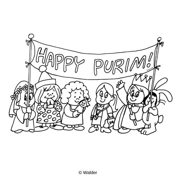 Purim clipart black and white clipart black and white download Happy Purim Banner over Kids in Costume   Walder Education clipart black and white download