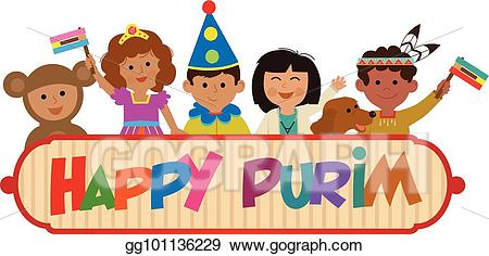 Purim clipart pictures banner library stock EPS Illustration - Kids purim sign. Vector Clipart ... banner library stock