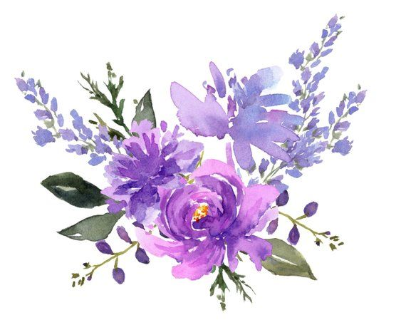 Purple and white carnations water painting clipart clip free download Purple Flower Designs Watercolor Cip Art Lavender | art shop ... clip free download