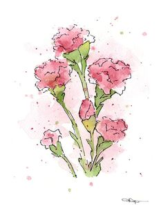 Purple and white carnations water painting clipart picture royalty free stock 59 Best Pink Carnation Art, Decor images in 2018 | Pink ... picture royalty free stock