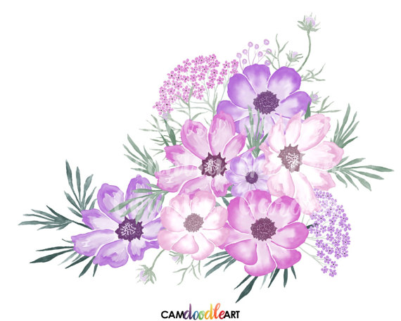 Purple and white carnations water painting clipart image download Pink and Purple Watercolor Flowers Clipart Set,Hand Painted ... image download