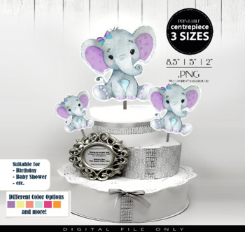 Purple baby elephant clipart picture stock Purple Teal Girl Elephant Clip Art Centrepiece for Baby Shower,table  decorations picture stock