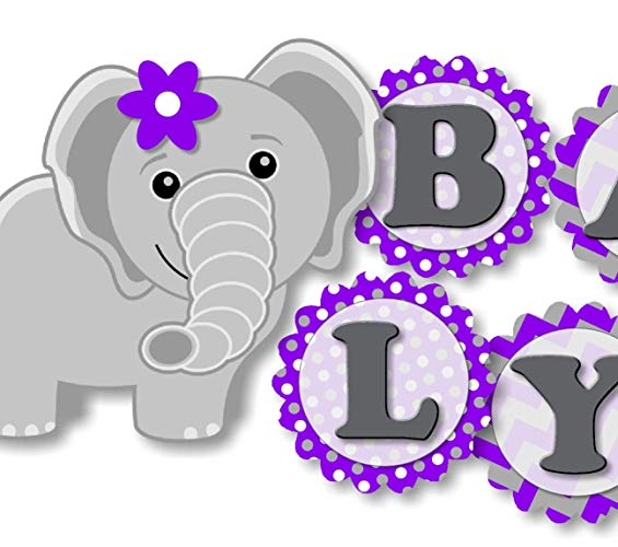 Purple baby elephant clipart banner library download Amazon.com: Personalized Purple Elephant Baby Shower Banner ... banner library download