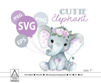 Purple baby elephant clipart black and white Cute floral Girl Elephant SVG,vector clip art,baby girl elephant for baby  shower black and white