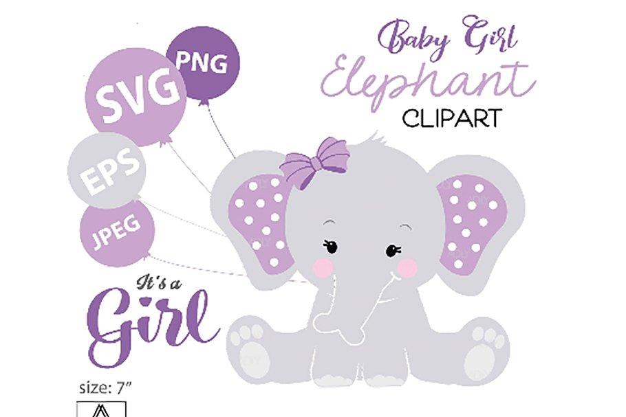 Purple baby elephant clipart stock Purple Elephant SVG, clip art, stock