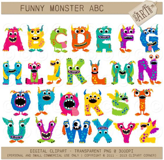 Purple baby girl alphabet clipart clipart royalty free library Alpha - Monster ABC (Girl) Alphabet Clipart - Monster Letters ... clipart royalty free library