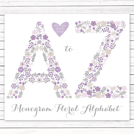 Purple baby girl alphabet clipart clipart transparent stock Vector Premium Alphabet flower monogram by designloverstudio clipart transparent stock