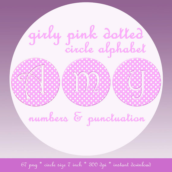 Purple baby girl alphabet clipart clip free stock Pink dotted circle digital alphabet clipart baby by LucyPlanet clip free stock