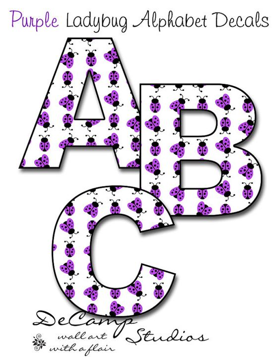 Purple baby girl alphabet clipart clipart transparent download PURPLE LADYBUG LETTER Wall Art Decals Personalized Baby Girls Name ... clipart transparent download