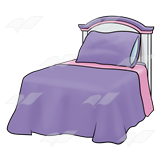 Purple bed clipart