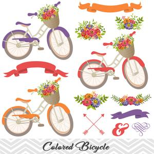 Purple bike with basket and flowers clipart clipart royalty free download Digital Floral Bicycle Clip Art, Wedding Clip Art, Purple Blue Bicycle  Clipart, Flower Banner Arrow Clipart 0125 clipart royalty free download