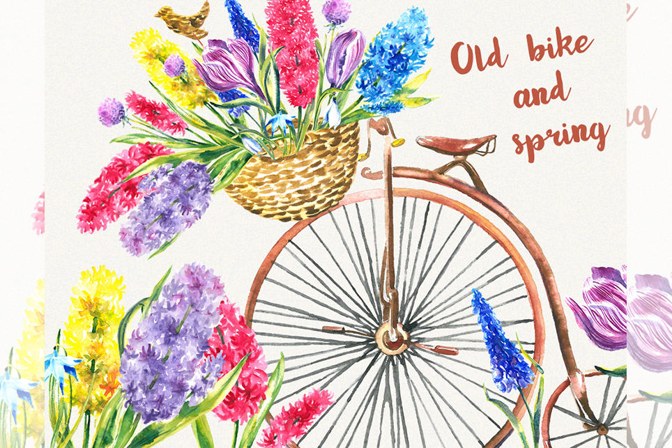 Purple bike with basket and flowers clipart vector transparent Bike clipart Garden clipart Spring flower clipart vector transparent