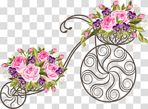 Purple bike with basket and flowers clipart clip royalty free download Bicycle With Flowers transparent background PNG cliparts ... clip royalty free download
