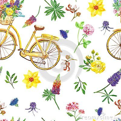 Purple bike with basket and flowers clipart png royalty free stock Watercolor yellow retro bicycle with basket and wildflowers ... png royalty free stock