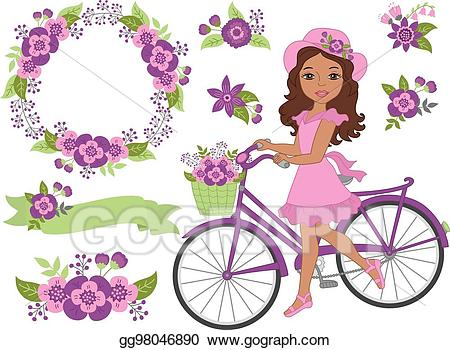 Purple bike with basket and flowers clipart png black and white library Clip Art Vector - Vector romantic set with beautiful african ... png black and white library