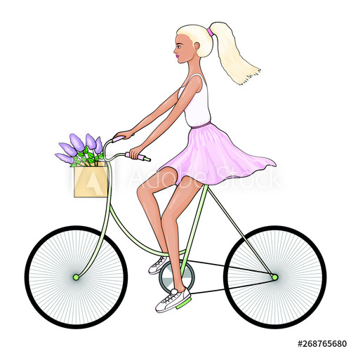 Purple bike with basket and flowers clipart freeuse library Fashion illustration. A young woman in a white T-shirt and ... freeuse library