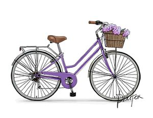 Purple bike with basket and flowers clipart graphic library download A0089_blue - Retro Bicycle, Vintage Bike, Flower Basket ... graphic library download