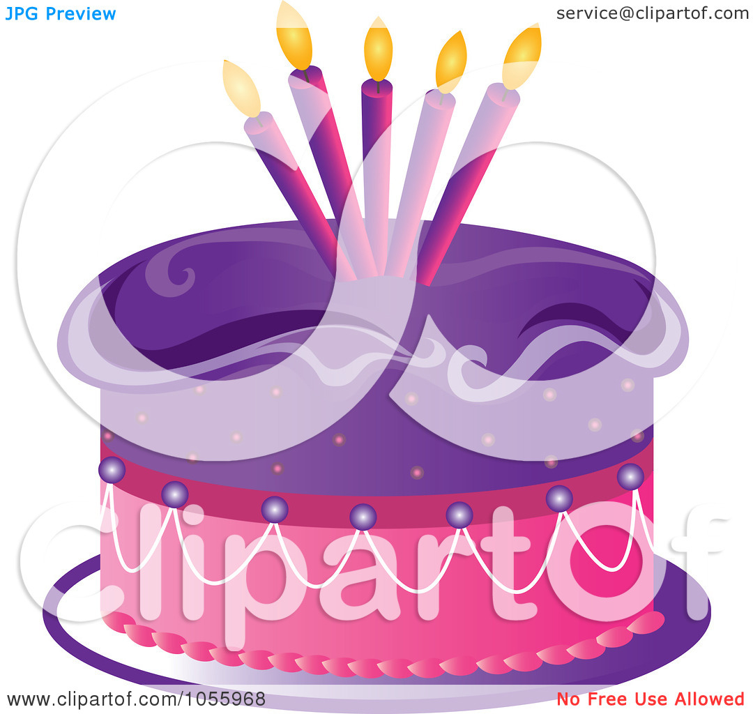Purple birthday cake clipart banner freeuse download Royalty-Free Vector Clip Art Illustration of a Purple And Pink ... banner freeuse download