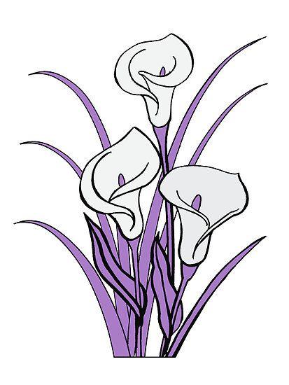Purple calla lily clipart jpg transparent stock Calla Lily Floral Bouquet in Purple\