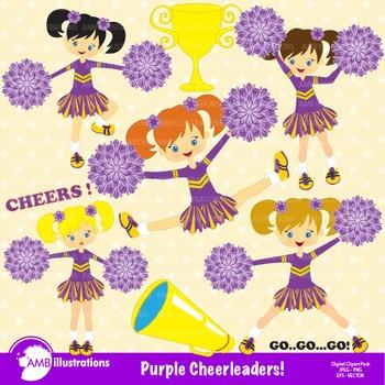 Purple cheerleader clipart clip art black and white library Clipart, Cheerleader Clipart, Cheerleaders in Purple AMB-212 clip art black and white library