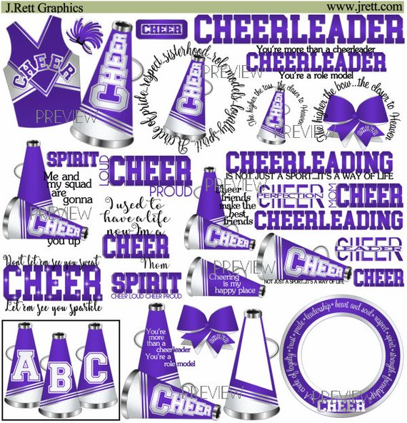 Purple cheerleader clipart banner royalty free stock Cheer clipart, MORE COLORS, 50+ graphics, purple white cheer ... banner royalty free stock