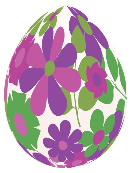 Purple easter basket clipart graphic transparent Easter White Egg with Purple Flowers PNG Clipart Picture | Easter ... graphic transparent